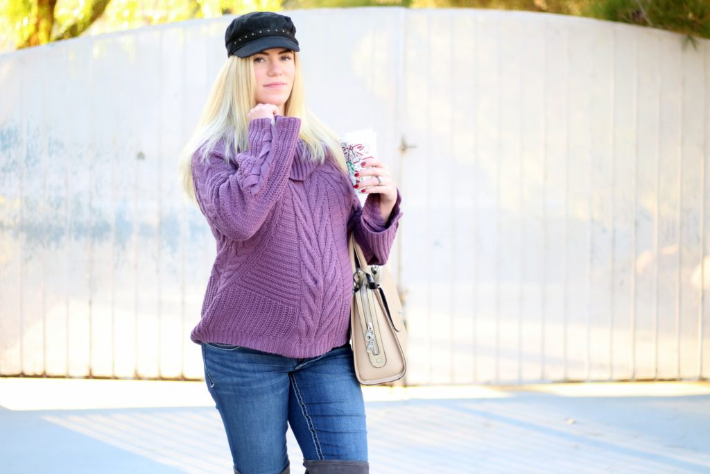 Cozy Knit: Purple Sweater